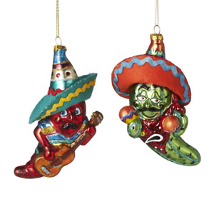 "Chili Peppers Red Green Ornament Set 2 5"" Glass Cinco De Mayo Mexico Christmas"