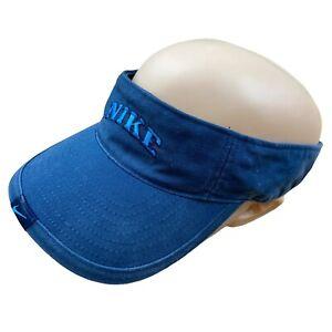 Nike Running Tennis Visor Faded Blue Baseball Cap Sport Swoosh Spellout Vintage
