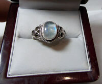 925 Sterling Silver Blue Moonstone Solitaire Cabochon size 9.5 Ring 11h 9
