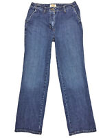 Talbots Womens Medium Wash Flap Pocket Straight Leg Stretch Denim Jeans Size 6