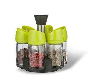 6 Jar Container Spice Rack Pantry Organizer Holder Revolving Turntable Tray