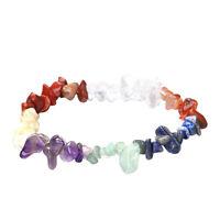 Stretch 7 Chakra Chipped Raw Natural Stone Yoga Healing Crystal Bracelet Women