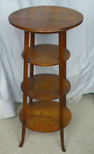 Antique Oak Parlor Tiered 4 Shelves Small Table