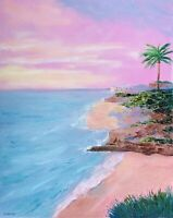 California Beach Painting Seascape Original Canvas 16 by 20In By Chernetsova