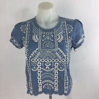 Lovers + Friends Short Weekender Ruffled Top Size Small Embroiderd Eyelet Beaded