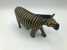 Vintage Hand Carved Wood Zebra Figurine Sculpture African Safari Decor J3