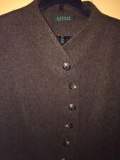 Ralph Lauren Green Label Brown Tweed Wool Blazer Jacket Women's Size16