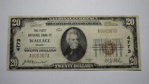 $20 1929 Wallace Idaho ID National Currency Bank Note Bill Charter #4773 RARE