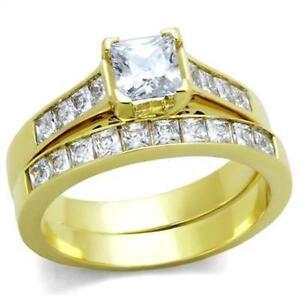 2.50CTW Gold IP Ring Wedding Set Princess Cut CZ Stainless Steel Sz 5 6 7 9 10