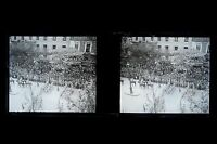 The parade of 14 Paris july 1919 Great War WW1 Plate stereo NEGATIVE
