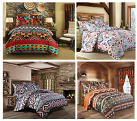 BOHO Bohemian Ikat Aztec Geometric Pattern Bedding Duvet Cover Set Pillow Case