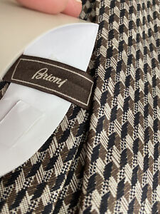 Brioni Tie Beige/Coffee Printed BNWT 8cm Silk RRP £170 AMAZING