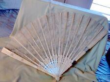 Vintage Creme Silk Lace Folding Fan