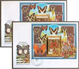 CENTRAL AFRICAN Rep 1990 Butterfly, Scouting GOLD Imperf+Perf Sheets o Cover/FDC