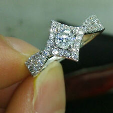 1.5 Diamond Square Halo Wedding Engagement Women's Ring  in 14k White Gold Over