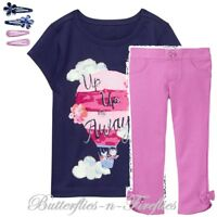 NWT Gymboree 3pc Outfit Set HOT AIR BALLOON Tee Bow Pants Hair Clips Girls 5T