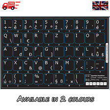 Czech Non-Transparent Keyboard Stickers for Computer Laptop PC in 2 Colours!