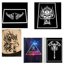Reusable Airbrush Temporary Template Tattoo Stencils Booklet with A4 Patterns
