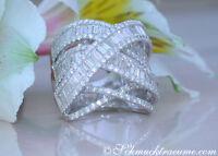 Überkreuzter Brillanten Ring mit Baguette Diamanten 4.73 ct. TW VS1 WG750 20000€