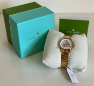 NEW! KATE SPADE NEW YORK BOATHOUSE WHITE DIAL ROSE GOLD BRACELET WATCH $225 SALE