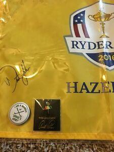 2016 Team USA Signed DUSTIN JOHNSON Ryder Cup  FLAG JSA COA +  ARNIE'S LAPEL PIN