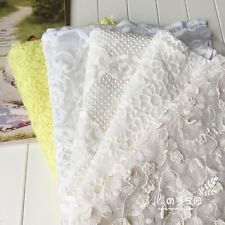 Lace Embroidery Flower Fabric Cotton Net Yarn for Dress Bags Cloth 100 125 CM