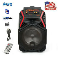 "8"" Portable FM Bluetooth Party Speakers Subwoofer Bass Wireless Outdoor/Indoor"