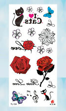 rose flower cat butterfly temporary tattoo cool wholesale