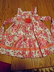 Youngland Girl's Size toddler 4T Pink Floral Dress Formal Party Holiday Tie Back