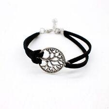 Árbol de la vida pulsera Idea de Regalo Negro Imitación Cuero Amistad Joyería Hippie