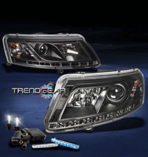 2005-2008 AUDI A6 LED BLACK PROJECTOR HEAD LIGHT W/BLUE DRL BUMPER+6000K HID KIT