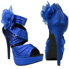 Womens Evening Platform High Heel Sandals w/ Flower Accent Blue Sz 5.5-10