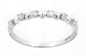 Solid 14K White Gold 0.11 CT Real Natural Thin Diamond Band Gift For Her Jewelry