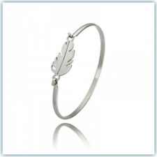 NEW SOLID SURGICAL STEEL SILVER CUFF BRACELET BANGLE LEAF STYLE HYPOALLERGENIC