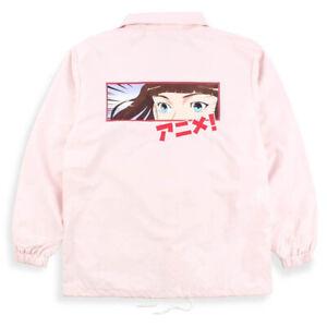 Agora Anime Coach Jacket Japanese Manga Vaporwave Sad Pink Boys NEW
