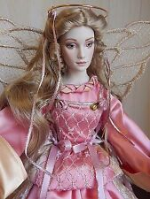 "Franklin Mint 1992 20"" Victorian Angel Porcelain Doll w/Pink & Gold Satin Dress"