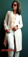 ZARA NEW TEXTURED WAVE INVERTED LAPEL NUDE PINK FROCK COAT SIZE XS