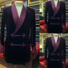 Burgundy Purple Velvet Men Suits Prom Tuxedo Blazers Wedding Groom Tailored Fit