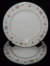2 Royal Crown China Japan Dinner Plates Pink Floral Flower Silver Trim