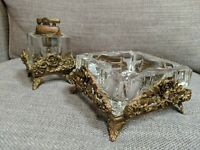 Vintage Ornate Brass With Glass Inserts Ashtray & Lighter - Mid Century Modern