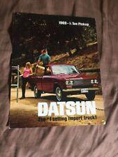 1969 Datsun Nissan 1/2 Ton Pickup USA Market Color Brochure Catalog Prospekt