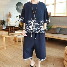 Men's Embroidery Chinese Suit T shirts Pants Set Cotton linen Casual Shorts Tops