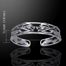 Twin Dragon .925 Sterling Silver Bangle Bracelet by Peter Stone detailed Unique