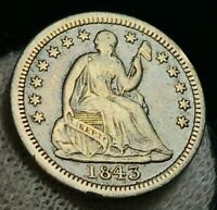 1843 Seated Liberty Half Dime 5C High Grade VF XF Date US Silver Coin CC2188