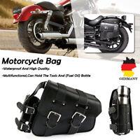 Motorrad Satteltasche Seiten Werkzeugtasche + Flaschenhalter Rechts für Harley