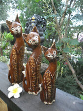 Bali Carved Cat Statues set of 3