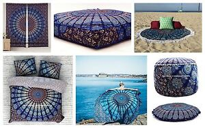 Peacock Mandala Room Set Indian Tapestry + Curtains + Duvet Cover + Roundies Set