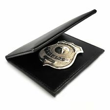 Mens Silver Police Badge Cop Officer ID Badge Wallet Fancy Dress Prop Costume