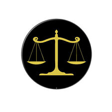 Balanced Scales of Justice Symbol Legal Lawyer Gold and Black Tie Tack Lapel Pin