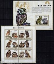 Comoros 2009 MNH MS+SS, Owls, Birds of Prey -  C12